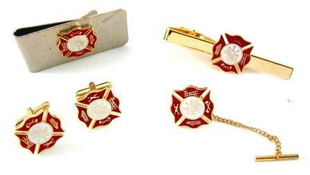 Fire Fighter Gift Set: Cufflink, Money Clip, Tie Bar & Tie Pin