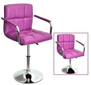 bar tabouret de bar chaise de club r glable en hauteur en violet cuisine maison. Black Bedroom Furniture Sets. Home Design Ideas