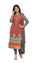 Adorn Mania Grey Heavy Georgette Embroidered salwar Suits Dress Material