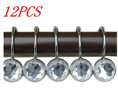 12 PCS Bling Rolling Shower Curtain Rings Hooks Shiny Anti Rust Crystal Rhinestone