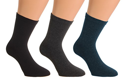 2 Paar Damen Thermo Socken Wintersocken Softrand extra warm blau 35 bis 42