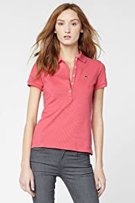 Short Sleeve 5 Button Stretch Pique Polo