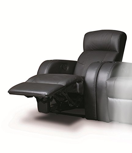 Recliner Chair With Cup Holder In Black Leather