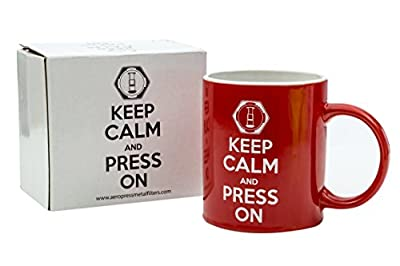 Keep Calm and Press On Coffee Mug for AeroPress Lovers