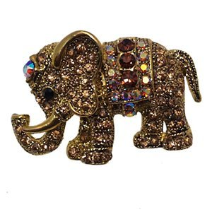 CHANDAA Gold Plated Multi-Col Crystal Elephant Brooch
