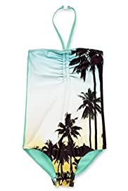 Halterneck Palm Print Swimsuit