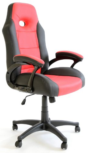 Charles Jacobs Luxury Office High Back Support Gaming Chair in Black&Red +Tilt Lock Mechanism