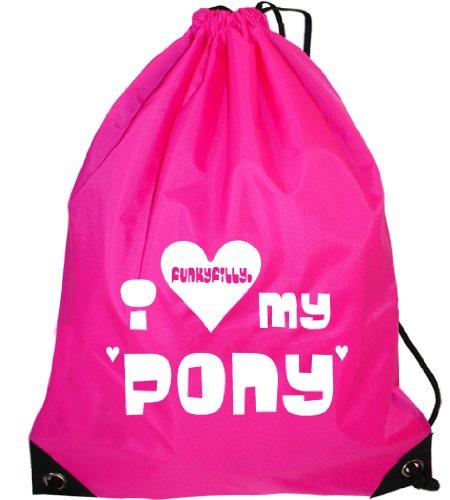 Funky Filly Pony Girls I Love My Pony Drawstring Bag Size 45 x 34 cms