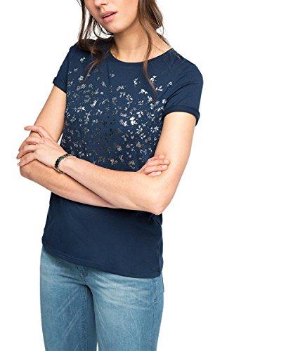ESPRIT Damen T-Shirt 016EE1K014, Gr. 36 (Herstellergröße: S), Blau (NAVY 400)