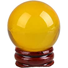 Alcoa Prime 40mm Quartz Lucky Yellow Healing Crystal Ball Sphere Bottom Stand Home
