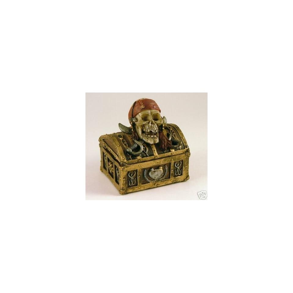 Jolly Roger Pirate Skull Treasure Chest Trinket Box