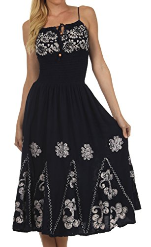 Sakkas B82 Batik Embroidered Empire Waist Dress - Navy / White - One Size