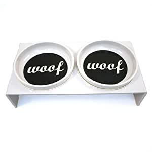 Woof Dog Bowls with Stand (12.75 x 6.5 x 3.5)