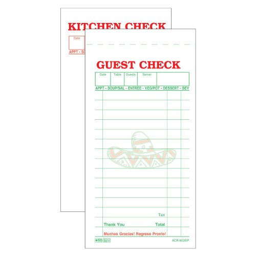 """DayMark ACR-803SP No-Carbon Guest Check, 2 Part, White, 6-3/4"""" Length x 3-13/32"""" Width (Case of 50 Packs, 50 Sheets per Pad)"""