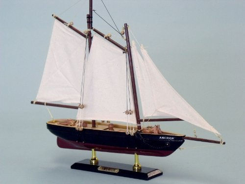 "America 16"" Model Sailboat - Already Built Not a Kit - Wooden Sail Boat Replica Model Sailing Yacht America's Cup Racer Nautical Home Beach Wall Décor or Gift"