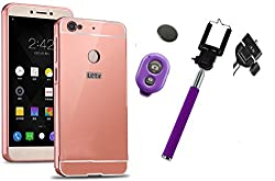 Novo Style Back Cover Case with Bumper Frame Case for Letv Le1s LeEco Le 1s Rose Gold + Selfie Stick with Adjustable Phone Holder and Bluetooth Wireless Remote Shutter