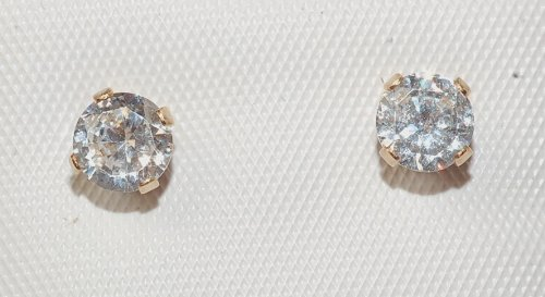 14k Gold Filled Round Stud Earring with Cz