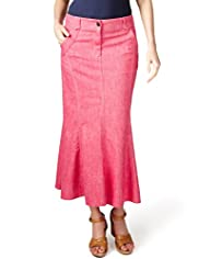 Per Una Cotton Rich Long Panelled Denim Skirt