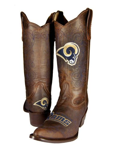 NFL St. Louis Rams Women's Flyer Pull Up Western Boot, Brown, 9 Picture