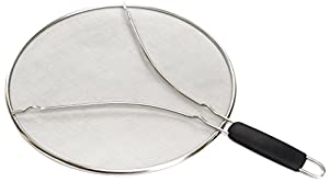 "Ruki Home Splatter Screen - 13"" Frying Pan Splash Guard - Strainer - Protection for Your Kitchen Stove - Grease Mess Free - Durable Stainless Steel Mesh - Resting Feet - Black Plastic Heat Resistant Handle"