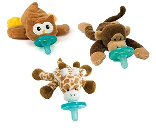WubbaNub Infant Pacifier 3-Pack - People's Choice Giraffe, Monkey, Owl