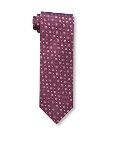 Versace Men's Geometric Woven Silk Tie, Burgundy