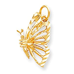 10K Yellow Gold Butterfly Charm Jewelry