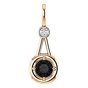 14K Rose Gold Round Cut Black Diamond Pendant - 0.81 Ct.