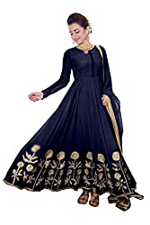 Saee Sachi Women's Georgette Semi Stitched Dress Material_05_Navy_Freesize