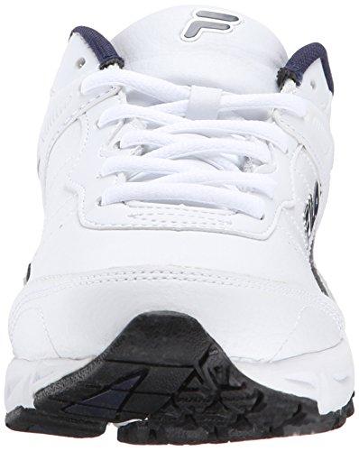 Fila Men's Memory Sportland Running Shoe, White/Fila Navy/Metallic Silver, 11 M US
