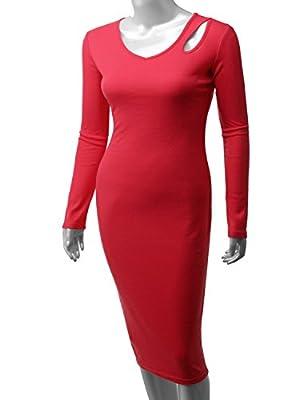 Doublju Womens Longsleeve Strech Slim Fit Cut Out shoulder Midi Dress