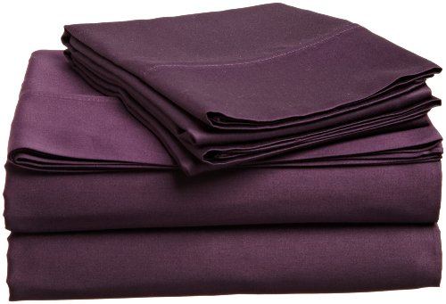 Impressions Genuine Egyptian Cotton 300 Thread Count Full 4-Piece Sheet Set Solid, Plum front-961769