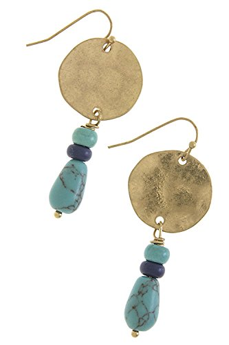 The Jewel Rack Faux Jewel Drop Earrings (Blue/Gold)