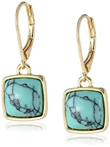 "Anne Klein ""Santa Fe Bound"" Gold-Tone Turquoise Leverback Drop Earrings"