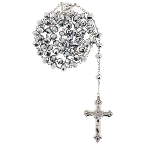 Silver Tone Rosary with Silver Color Faceted Rondell Beads in 8x6mm - 28'' Necklace - 21'' Overall Length