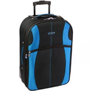 Azure Extra Large 30 Inch Super Lightweight Expandable Suitcase (Black/Blue)