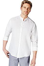 Blue Harbour Pure Linen Grandad Collar Shirt