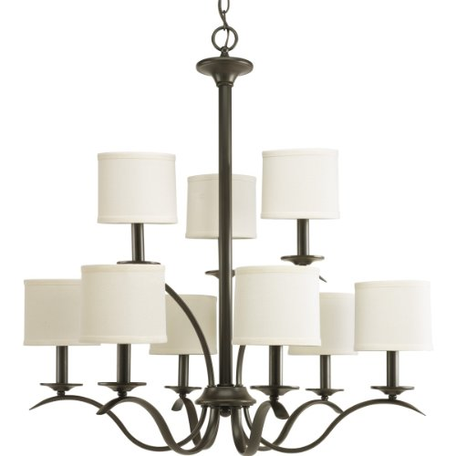 B0071K4AGW Progress Lighting P4638-20 Inspire Collection 9-Light Chandelier, Antique Bronze