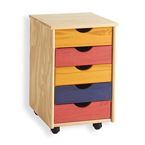Rollcontainer-Brocontainer-Container-Schubladencontainer-LAGOS-Kiefer-massiv-in-bunt-5-Schubladen-4-Doppelrollen