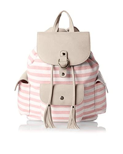 POVERTY FLATS by rian Women's Stripey Backpack, Pink