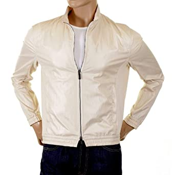 Armani Collezioni cream bomber jacket. GAM1120 at Amazon Men's