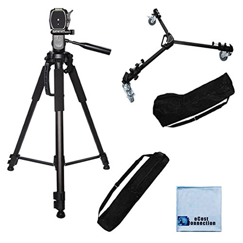 72-Inch Elite Series Full Size Camcorder Tripod + Elite Series Professional Universal Tripod Dolly W/ One Step Easy Lock & Locking Wheels For Jvc Gy-Hm650 Prohd Mobile News Camera, Jvc Gy-Hm700U Solid-State Camcorder, Jvc Gy-Hm70U Hd, Jvc Gy-Hm750 Compact