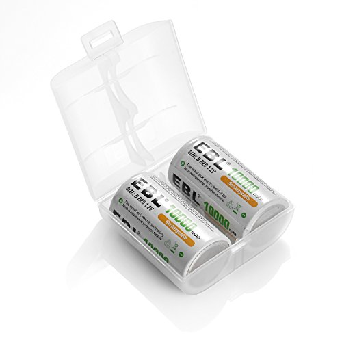 10 pack ebl d size d cell 10,000mah high capacity high rate nimh rechargeable batteries