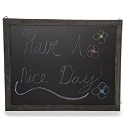 The Lucky Clover Trading Wooden Chalkboard Display Sign for Wall, Medium, Black Charcoal