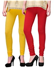 2Day Women's Cotton Churidaar Legging Red/Yellow (Pack Of 2)