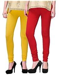 2Day Women's Cotton Churidaar Legging Red/Yellow (Pack Of 2)