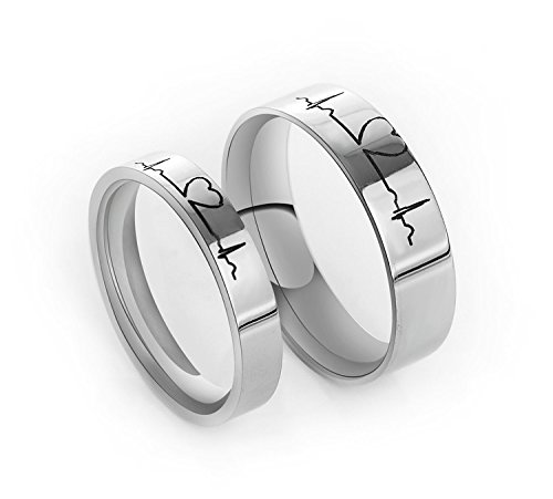 Fashionlife Jewelry,Electrocardiogram Ring,Titanium Couple Ring,ECG Ring,Love Heartbeat Ring,Comfort Fit Wedding Bands,Engagement Rings,Promise Ring,Best Gift (Womens Size 7)