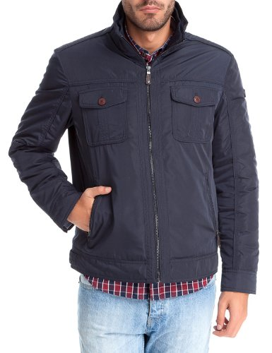 Springfield Men's Nylon Jacket with Ribbed Material Inside the Neckline Central Zip Fastening and Zips on Inner Pockets, L, navy
