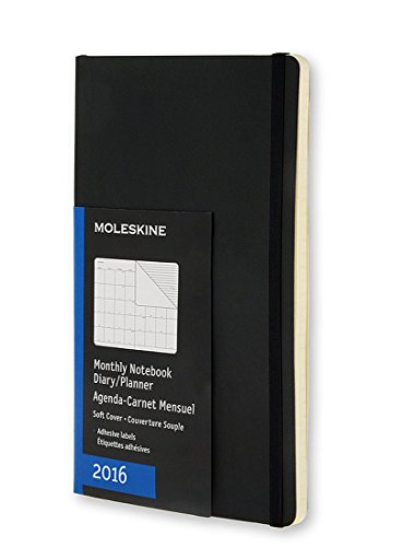 Moleskine 2016 Monthly Notebook, 12M, Pocket, Black, Soft Cover (3.5 x 5.5)