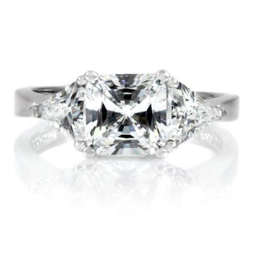 Keane's Engagement Ring – 3 Stone Princess  Trillion Cut CZ has a ...